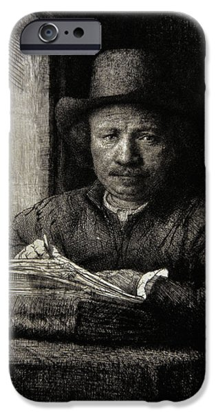 Self Portrait Photographs iPhone Cases - Self-portrait Etching At A Window, 1648, By Rembrandt 1606-1669 iPhone Case by Bridgeman Images