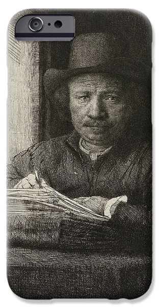 Black Portrait Drawings iPhone Cases - Self-portrait etching at a window iPhone Case by Rembrandt
