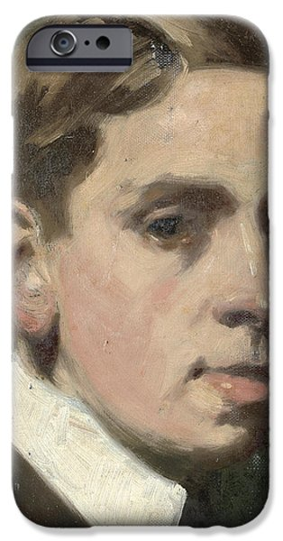 Self Portraits iPhone Cases - Self portrait iPhone Case by Francis Campbell Boileau Cadell