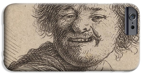 Rembrandt Drawings iPhone Cases - Self portrait in a Cap Laughing iPhone Case by Rembrandt