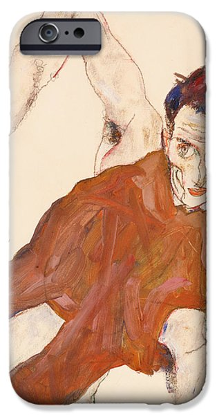 ist Self Portrait Paintings iPhone Cases - Self portrait in a jerkin with right elbow raised iPhone Case by Egon Schiele