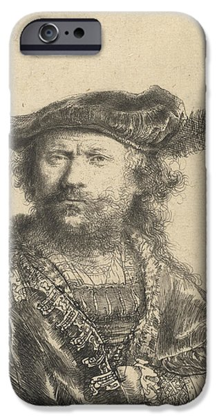 Self Portrait in a Velvet Cap with Plume iPhone Case by Rembrandt