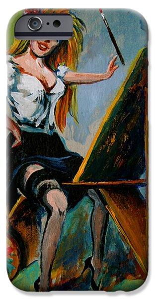 Artist Self Portrait Paintings iPhone Cases - self portrait - Karon iPhone Case by Karon Melillo DeVega