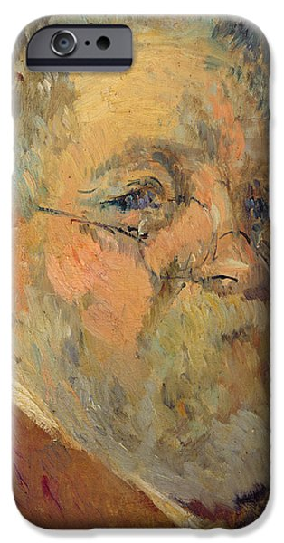 Painter Photographs iPhone Cases - Self Portrait Oil On Panel iPhone Case by Albert-Charles Lebourg