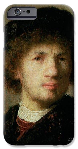 Artist Self Portrait Paintings iPhone Cases - Self Portrait iPhone Case by Rembrandt Harmenszoon van Rijn