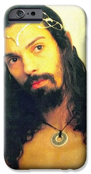 Divine Mercy iPhone Cases - Self Portrait The Elven King Jesus iPhone Case by Shawn Dall