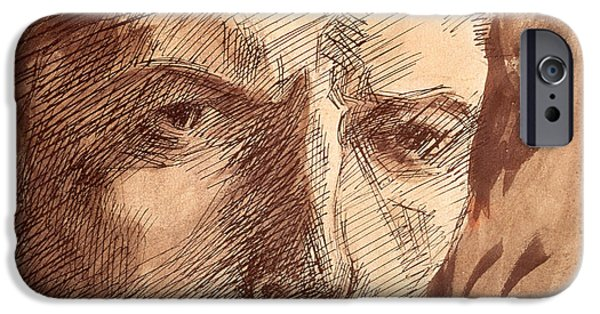 Preparatory Study iPhone Cases - Self Portrait iPhone Case by Umberto Boccioni