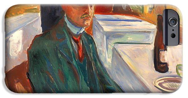 ist Self Portrait Paintings iPhone Cases - Self Portrait with a Bottle of Wine iPhone Case by Edvard Munch