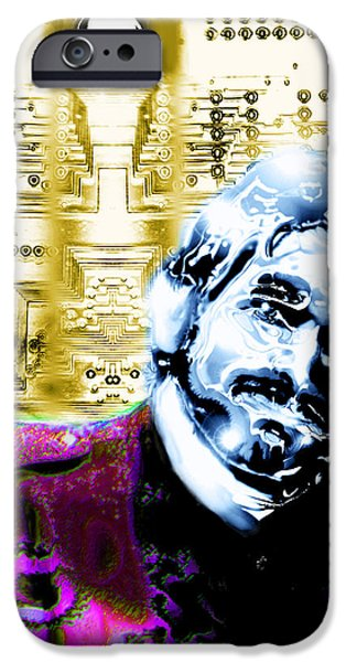 Circuit Drawings iPhone Cases - Self Portrait with Circuits iPhone Case by Del Gaizo