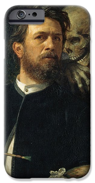 Self Portrait With Death iPhone Case by Arnold Bocklin