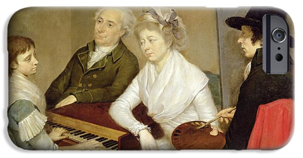 Piano iPhone Cases - Self Portrait With Family Oil On Canvas iPhone Case by Georg Ludwig Eckhardt