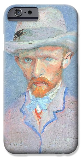 19th Century iPhone Cases - Self-Portrait with gray felt hat iPhone Case by Vincent van Gogh