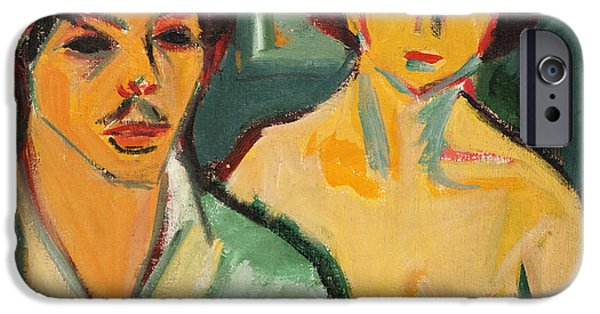 ist Self Portrait Paintings iPhone Cases - Self Portrait with Model iPhone Case by Ernst Ludwig Kirchner