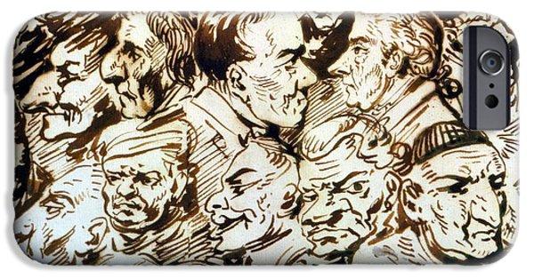 Caricature Artist iPhone Cases - Self Portrait With Portraits Of Giacomo Quarenghi 1744-1817 And Thomas De Thomon C.1754-1813 Pen iPhone Case by Alexander Orlowski