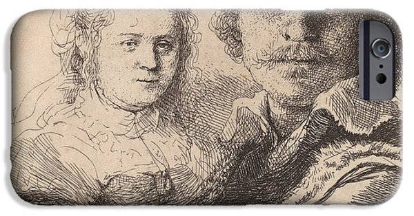 Couple Drawings iPhone Cases - Self Portrait with Saskia iPhone Case by Rembrandt