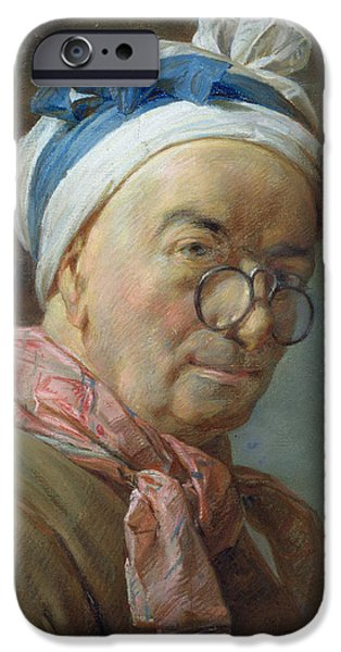 Scarves iPhone Cases - Self Portrait With Spectacles, 1771 Pastel On Paper iPhone Case by Jean-Baptiste Simeon Chardin