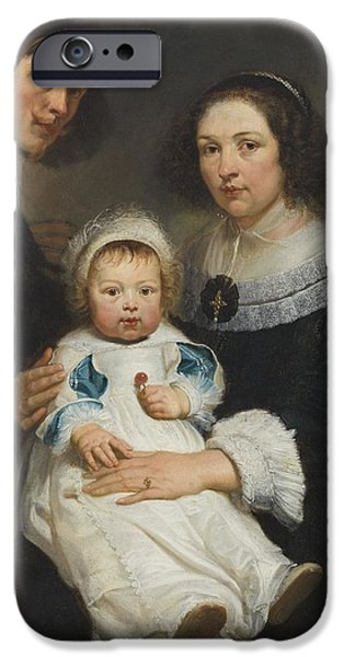 Self Portrait Photographs iPhone Cases - Self Portrait With Wife Catherine De Hemerlaer And Son Jan Erasmus Quellinus, 1635-36 Oil On Canvas iPhone Case by Erasmus Quellinus