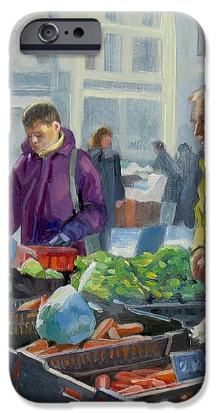 Selling vegetables at the market iPhone Case by Dominique Amendola