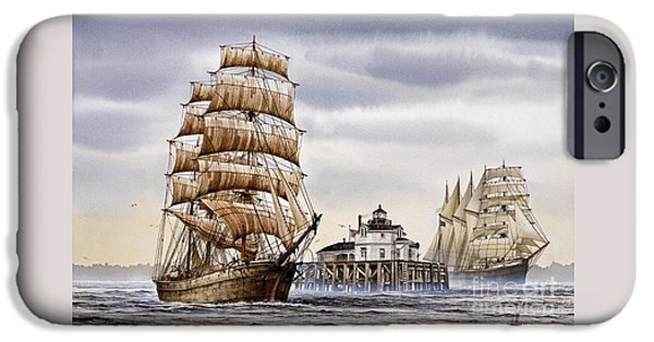 Tall Ship iPhone Cases - Semi-ah-moo Lighthouse iPhone Case by James Williamson