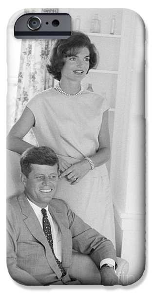 First Lady iPhone Cases - Senator John F. Kennedy and Jacqueline at Hyannis Port 1959 iPhone Case by The Phillip Harrington Collection