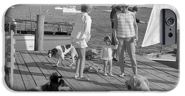 Cape Cod iPhone Cases - Senator John F. Kennedy and Jacqueline at the Marina iPhone Case by The Phillip Harrington Collection