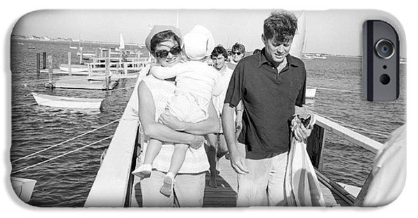 First Lady Photographs iPhone Cases - Senator John F. Kennedy and Jacqueline Kennedy at Hyannis Port Marina iPhone Case by The Phillip Harrington Collection
