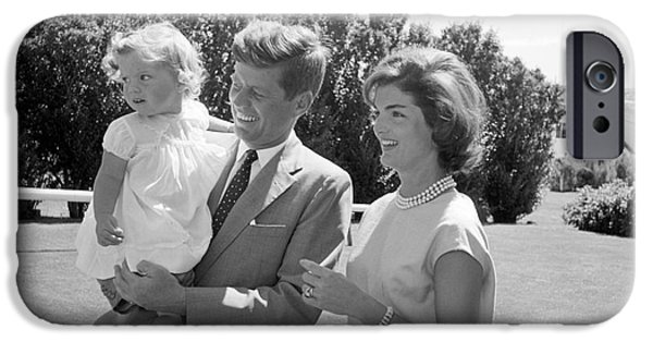 First Lady Photographs iPhone Cases - Senator John F. Kennedy with Jacqueline and Caroline iPhone Case by The Phillip Harrington Collection