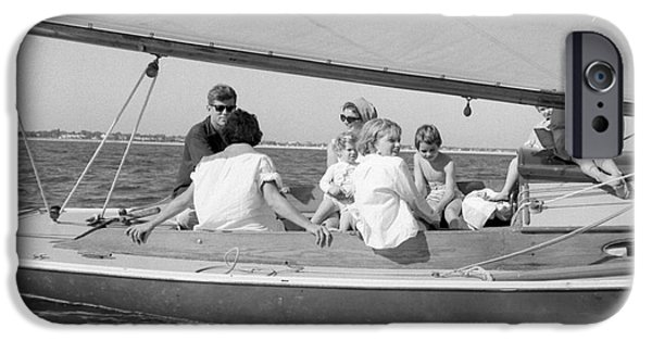 First Lady Photographs iPhone Cases - Senator John F. Kennedy with Jacqueline and Children Sailing iPhone Case by The Phillip Harrington Collection