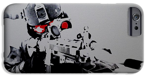Iraq Drawings iPhone Cases - On Target iPhone Case by Brian Reaves