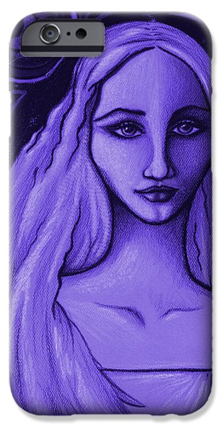 Night Angel Drawings iPhone Cases - Send me to his Dream iPhone Case by Danielle R T Haney