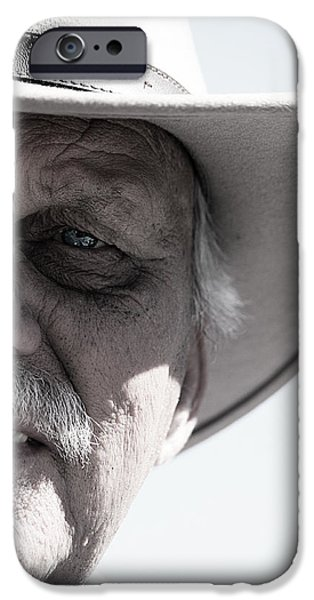 Old Blue Eyes iPhone Cases - Senior Cowboy iPhone Case by Jerry Cordeiro