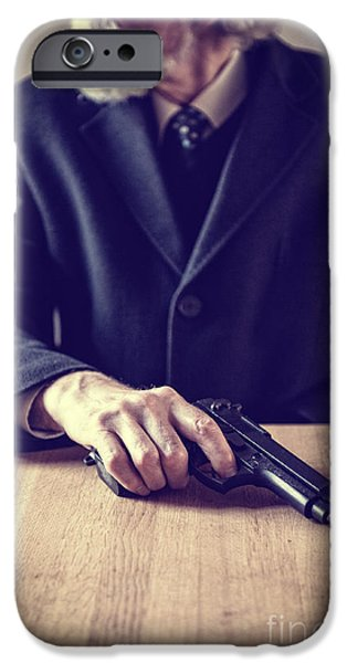 Gray Hair iPhone Cases - Senior Man With Gun iPhone Case by Lee Avison
