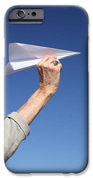 Senior woman with paper plane iPhone Case by Konstantin Sutyagin