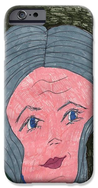 Gray Hair Mixed Media iPhone Cases - Senior Young iPhone Case by Elinor Rakowski