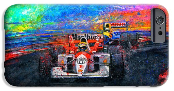 Ayrton Senna iPhone Cases - Senna For The Win iPhone Case by Alan Greene