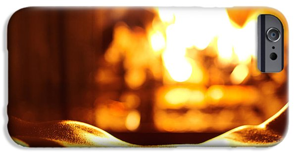 Pleasure iPhone Cases - Sensual closeup of nude woman in front of fireplace iPhone Case by Oleksiy Maksymenko