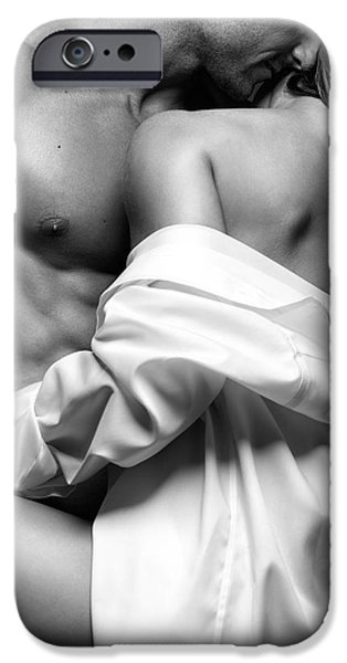 Women Together iPhone Cases - Sensual couple portrait Woman Embracing a Muscular Man iPhone Case by Oleksiy Maksymenko