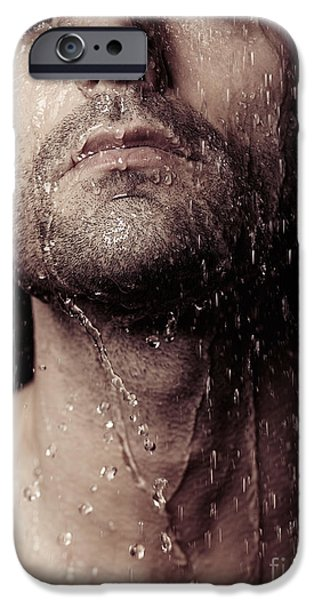 Shower Head iPhone Cases - Sensual portrait of man face under shower iPhone Case by Oleksiy Maksymenko