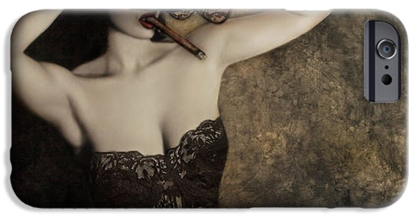 Self Portrait Photographs iPhone Cases - Sensuality in Sepia - Self Portrait iPhone Case by Jaeda DeWalt