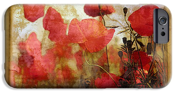Ancient Scroll iPhone Cases - Sentimental Poppy Scroll iPhone Case by Georgiana Romanovna
