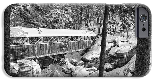 Lincoln iPhone Cases - Sentinel Pine Covered Bridge - Franconia Notch State Park New Hampshire USA iPhone Case by Erin Paul Donovan