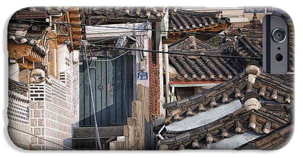 East Village iPhone Cases - Seoul Rooftops iPhone Case by Joan Carroll
