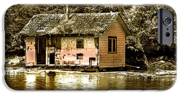 East Cracoft Island iPhone Cases - Sepia Floating House iPhone Case by Robert Bales