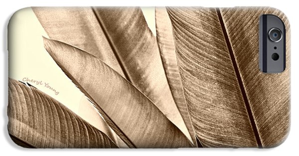 Brown Toned Art iPhone Cases - Sepia Leaves iPhone Case by Cheryl Young