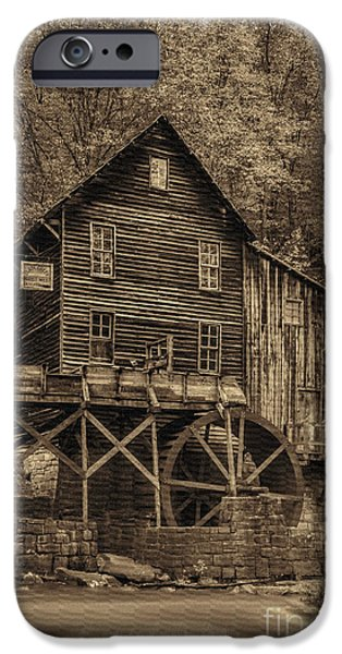 Grist Mill iPhone Cases - Sepia of Grist Mill at Babcock State Park iPhone Case by Dan Friend