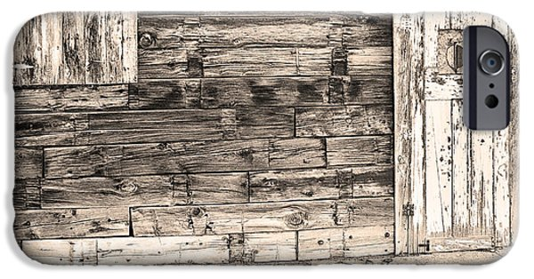 Old Barn Print Photographs iPhone Cases - Sepia Rustic Old Colorado Barn Door and Window iPhone Case by James BO  Insogna