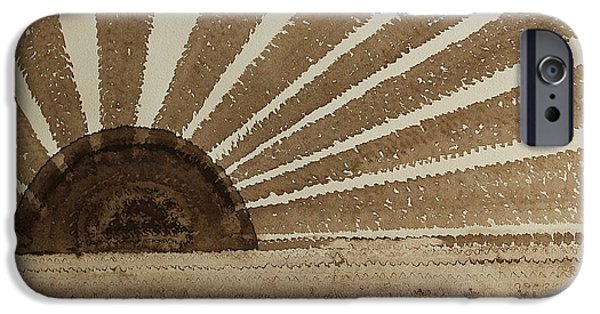 Printmaking Paintings iPhone Cases - Sepia Sunset original painting iPhone Case by Sol Luckman