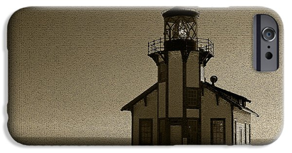 Lighthouse Pastels iPhone Cases - Sepia/Textured Point Cabrillo Lighthouse iPhone Case by Jacqueline Barden