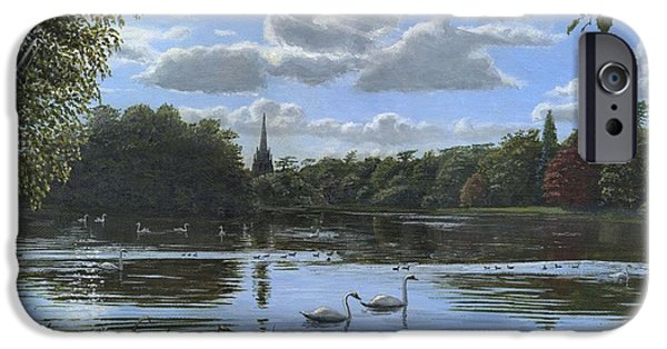 Swans... Paintings iPhone Cases - September Afternoon in Clumber Park iPhone Case by Richard Harpum