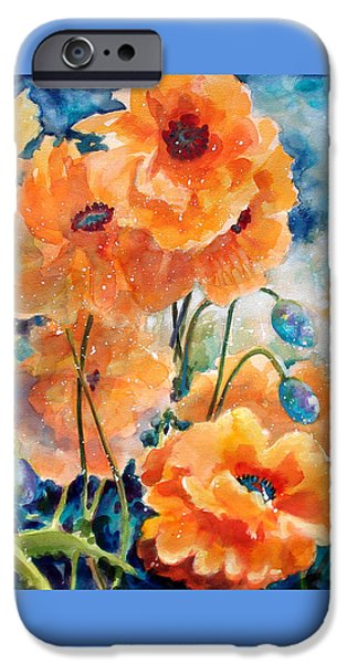 Interior Mixed Media iPhone Cases - September Orange Poppies            iPhone Case by Kathy Braud